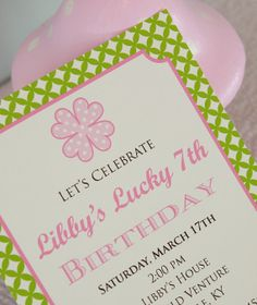 PRINTABLE PARTY INVITATIONS -- Preppy St. Patrick's Day Party (Customizable) -- Mirabelle Creations