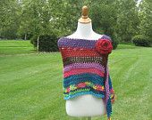 MULTICOLOR STRIPES PONCHO Crochet Poncho Purple Red Brown Pink Hot Pink Teal Turquoise Fall Winter 2012- 2013 Hippie Fashion Chic Modern