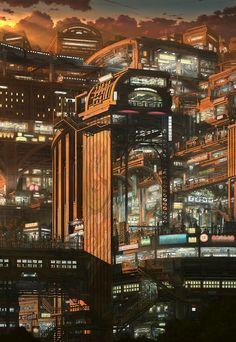 Cyberpunk artworks gallery - Page 56 Cyberpunk City, Futuristic City, Futuristic Architecture, Sci Fi Environment, Environment Design, Sci Fi Fantasy, Fantasy World, Space Opera, Sci Fi City