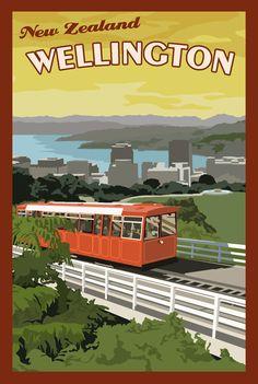 travel postcard - Wellington New Zealand Vintage Travel Poster New Zealand Art, New Zealand Travel, Retro Poster, Vintage Travel Posters, Party Vintage, Wellington New Zealand, Railway Posters, Nz Art, Vintage Advertisements