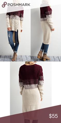 ARIANNA fade into hi Lo sweater - BURGUNDY Holy smokes! A complete MUST HAVE!!! Fun tri-TONE hi Lo sweater. Make a splash with this beauty!   ALSO AVAILABLE IN NAVY MIX.  NO TRADE, PRICE FIRM Bellanblue Tops