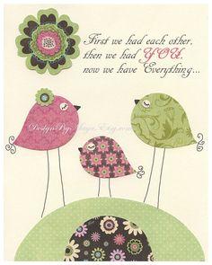 Nursery wall print Baby girl room decor love bird by DesignByMaya, $17.00