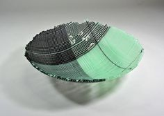 Fused Glass Bowl OOAK Striped Green and by davidjacobsonglass, $295.00