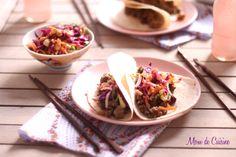 Mom de Cuisine - http://momdecuisine.net/2012/08/22/thai-pork-tacos-with-cabbage-peanut-slaw/