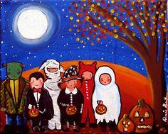 Kids Trick or Treat Halloween Fun Fall Folk Art  Original Painting Canvas via Etsy.