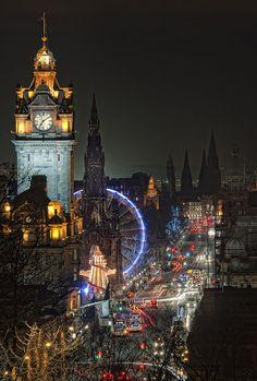 The lights of Edinburgh, Scotland, with Edinburgh Castle above