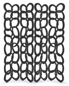 This Art Deco inspired screen, hand carved from solid hardwood with a chain-mail design, establishes a look that is creatively contemporary.