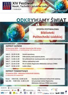 Plakat BPŁ na XIV Festiwal Nauki, Techniki i Sztuki w Łodzi, 7-14 kwietnia 2014 r.