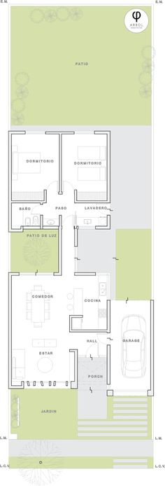 : Casas de estilo minimalista por ARBOL Arquitectos House Layout Plans, Modern House Plans, Small House Plans, House Layouts, Modern House Design, Amazing Architecture, Architecture Design, Loft Plan, Courtyard House Plans