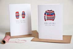 Personalised christmas card pack - Christmas cards - hand-illustrated, holiday card, christmas jumper, christmas mittens by EmmaMooreID on Etsy https://www.etsy.com/listing/203863308/personalised-christmas-card-pack