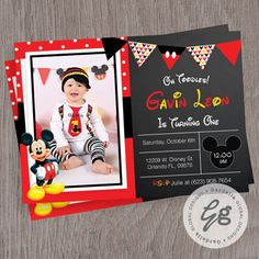 Mickey mouse Invitation Mickey Mouse Clubhouse by GardellaGlobal Happy Birthday Banners, 1st Birthday Parties, Boy Birthday, Birthday Cards, Birthday Ideas, Mickey Party, Mickey Mouse Birthday, Elmo Party, Dinosaur Party