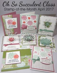 Oh So Succulent Stamp-of-the-Month Class.  Features the Oh So Succulent stamp set, Succulent Garden DSP, Sweet Sugarplum Ruched Ribbon and pre-cut supplies to create 8 cards!  See details at www.TooCoolStamping.com.  Register by April 19, 2017.