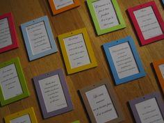 Cadres colorés avec des citation sur l'amour, le mariage... à accrocher aux arbres ou ailleurs