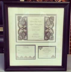 a custom framed wedding invitation is the perfect gift for the newly weds