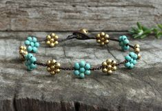 Daisy Turquoise Brass Anklet by brasslady on Etsy, $8.50