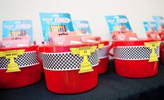 Cute loot bags for cars party. Fill buckets with crayons, cars etc.
