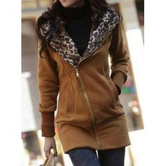 $15.32 Stylish Long Sleeve Leopard Print Zippered Women's Hoodie