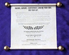 Create the perfect scroll invites for your Terror in a Toga murder mystery party!