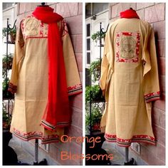 Hand block printed Handloom Kurta with kalamkari borders by www.facebook.com/orangeblossomwomensclothing