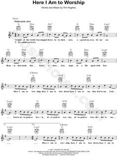 "Tim Hughes ""Here I Am to Worship"" Sheet Music in G Major (transposable) - Download & Print"