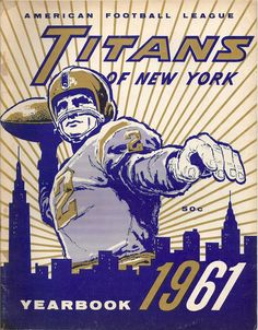 AFL game program (1961 Yearbook — New York Titans)