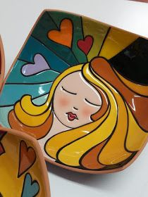 Mosaic Projects, Clay Projects, Pottery Painting, Ceramic Painting, Diy Arts And Crafts, Clay Crafts, Ceramic Clay, Ceramic Pottery, Pomegranate Art