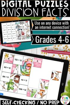 These division facts digital puzzle is no prep and self checking.  These engaging puzzles can be used on any device with an internet connection.  Perfect for individual work, partner work or for distance learning.  There are 4 different puzzles that have students practicing their division facts.  Great for review and test prep. Learning Resources, Fun Learning, Teacher Resources, Math Fact Practice, Math Websites, Math Strategies, Early Finishers, Free Math, Math Facts