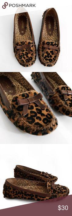 B e v e r l y F e l d m a n • S h o e s • Sz 6.5 Beverly Feldman Leopard Print Slip On Moccasin Shoes Sz 6.5 Beverly Feldman Shoes Moccasins