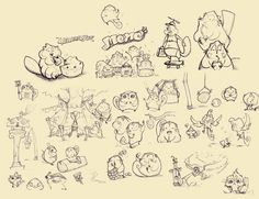 Sketches of the momongas in Momo's village