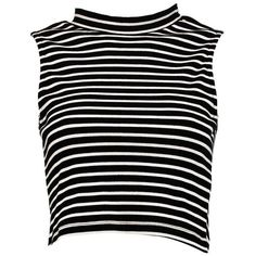 Boohoo Blue Ava High Neck Ribbed Stripe Crop Top ($10) ❤ liked on Polyvore featuring tops, crop tops, striped top, basic t shirt, striped long sleeve top, jersey crop top and flat top