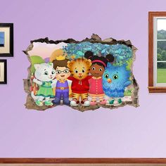 Daniel Tiger's Neighborhood 3d Wall Sticker Smashed Bedroom decor Vinyl Removable Art Decal Huge | Large | Small Removable  Mural for Kids Kids Bedroom, Diy Bedroom Decor, Bedroom Ideas, Daily Schedule Preschool, Wall Sticker, Decal, Daniel Tiger's Neighborhood, Murals For Kids, Thrifty Decor