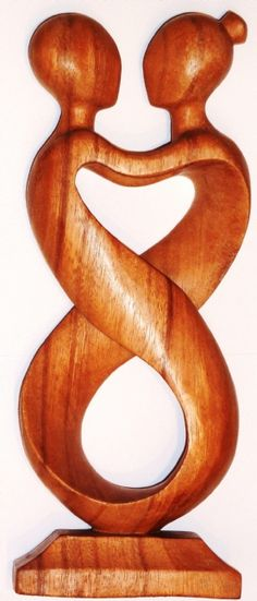 Bali wood carved Abstract spiral embrace natural