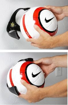 To keep the Ball Claw grip for years. HOLDS A SOCCER BALL. Soccer ball shown not included. Holds soccer balls, volley balls, and youth basketballs. Football Bedroom, Boys Soccer Bedroom, Soccer Room Decor, Volleyball Bedroom, Boy Decor, Soccer Tips, Soccer Skills, Soccer Stuff, Cool Gadgets