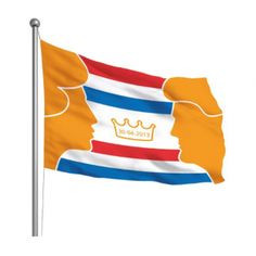 Prachtige Oranje inhuldigingsvlag met een oranje design van Koningin Beatrix en Koning Willem-Alexander en een gouden Kroon met de datum 30 april 2013 op een rood, wit, blauwe achtergrond. Deze Oranje Kroningsvlag is nu te koop via onze webshop Oranjewinkel.nl.