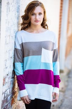 gilt   gossamer - Striped Multi Color Sweater with Oversize Pocket, $54.00 (http://www.giltandgossamer.com/striped-multi-color-sweater-with-oversize-pocket/)