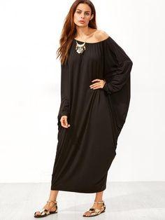 Black Boat Neck Dolman Sleeve Dress