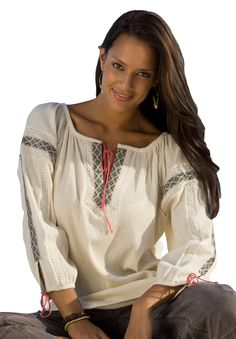 Plus Size Top in embroidered gauze | Plus Size Shirts & Blouses | Woman Within    For us full figured gals