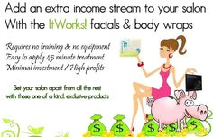 Do you own or work in a salon? Add It Works products to your menu of services for an all natural, easy to use way of increasing your profits.  trinaconner.myitworks.com