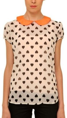 Trending curved-hem heart peter-pan-collar tops via Peter Pan Collar Top, Valentine Day Special, Polka Dot Top, Latest Fashion, Neon, Buttons, Orange, Heart, Stuff To Buy