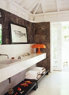 Modern White Lacquer Vanity W Exposed Stone Wall Cristina Rodriguez
