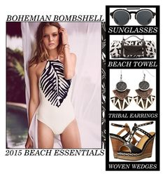 """""""Bohemian Bombshell - 2015 Beach Essentials"""" by latoyacl ❤ liked on Polyvore featuring Topshop, belle by Sigerson Morrison, KRISVANASSCHE, Mudd and Maslin & Co."""
