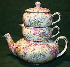 chintz tea pots | CHINTZ-Lord-Nelson-Heather-Stack-Tea-Pot-Creamer-Sugar-Set-Yellow-Gold ...