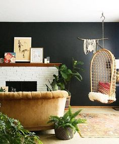 Hanging chair dark lacquered walk velvet couch all for tiny living Living Room Chairs, Living Room Furniture, Low Beach Chairs, Hanging Egg Chair, Eames Chairs, Arm Chairs, Ikea Chairs, Accent Chairs, Dark Walls
