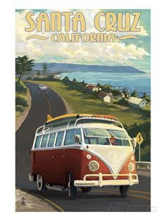 Santa Cruz, California - VW Van Prints by Lantern Press at AllPosters.com