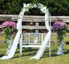 Wedding Decor Tall White Columns With Ferns