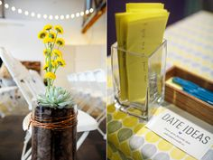 Industrial Los Angeles Wedding - - - this is s a great idea!  Have wedding guests fill out a date idea on a note card!