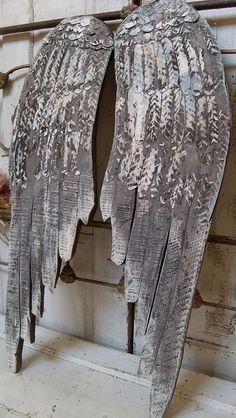 Large wooden angel wings wall sculpture gray by AnitaSperoDesign
