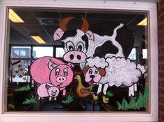 Raamschildering gemaakt in m'n lio klasje #lente#gr4- Juf Monica