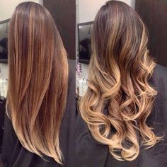 Brown hair with blonde highlights. Straighten and Curled