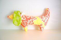 Shabby Chic Dachsund Stuffed Handmade Dog Toy by Rosebudbirdie, $16.00